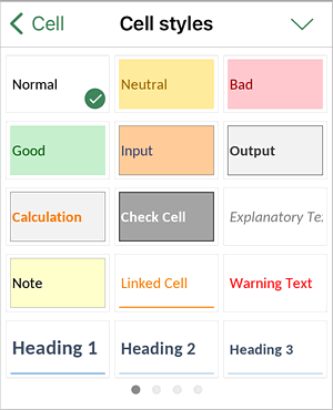 Cell styles palette