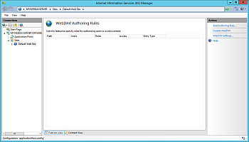 IIS Manager - WebDAV Authoring Rules