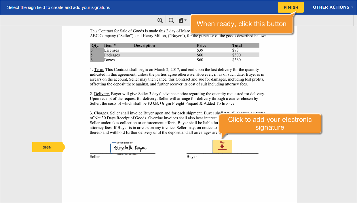 How to send documents for signature? Step 3
