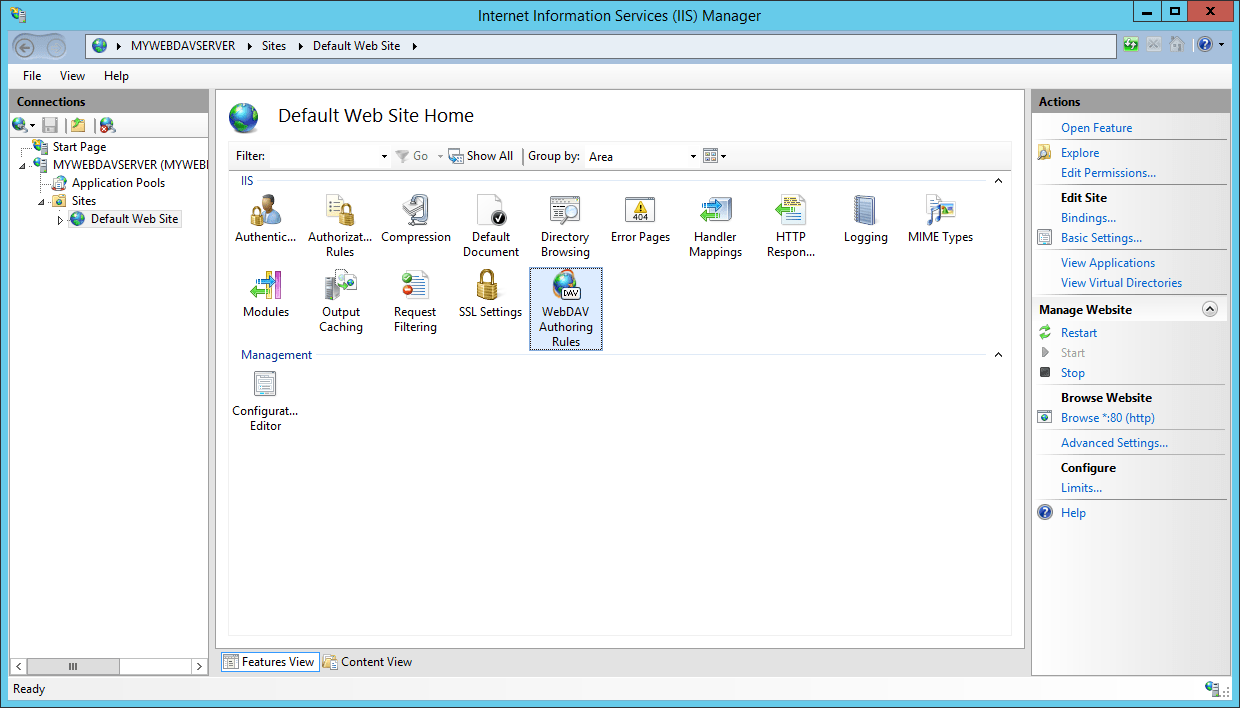 How to create a WebDAV server on Windows and connect it to