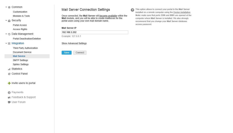 Connecting Mail Server to Community Server via Portal