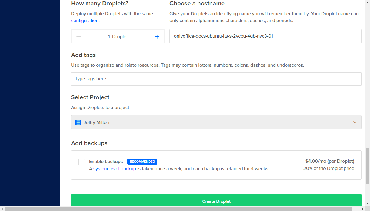 Create your droplet in DigitalOcean