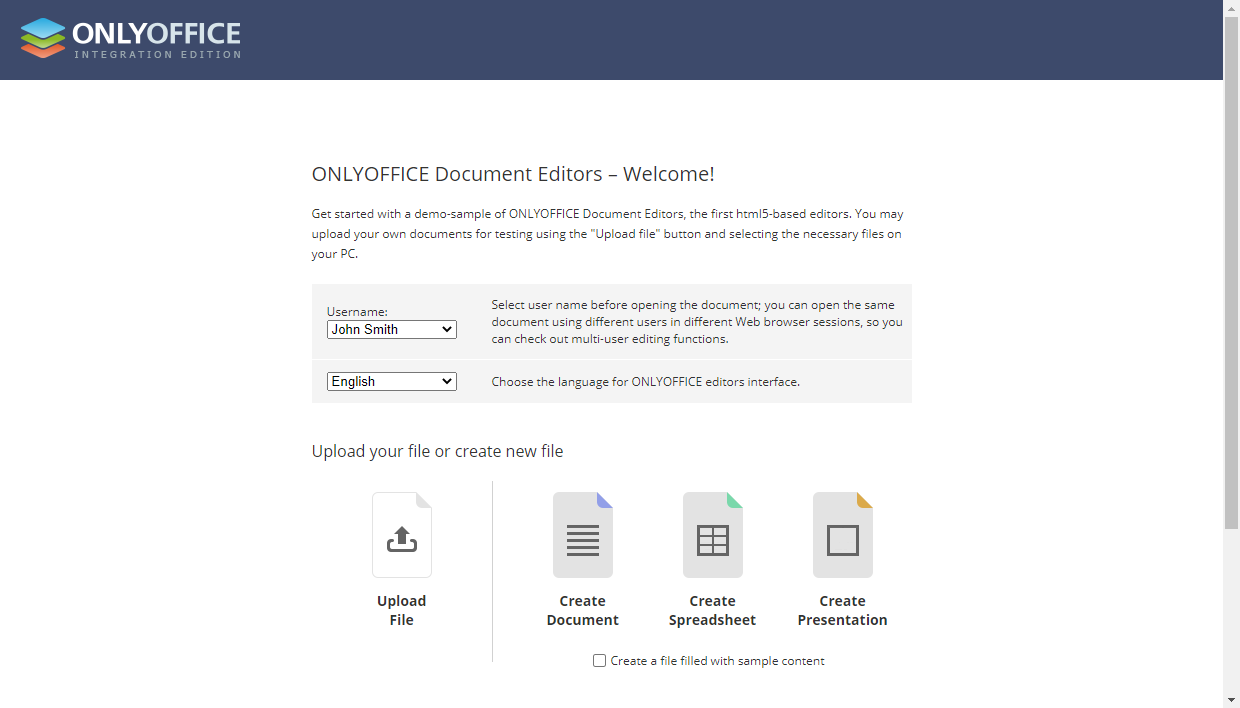 Access ONLYOFFICE Docs via a web browser
